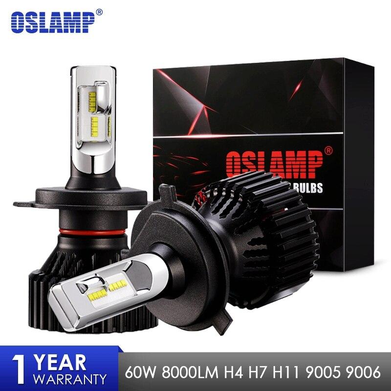 Oslamp Новый T8 H4 H7 H11 9005 9006 автомобилей светодиодный лампы зэс чипов 60 Вт 8000lm 6500 К авто противотуманные огни свет 12 В 24 В