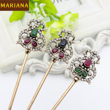 Vintage Turkish Women Double Side Flower Hair Clasp Arabia Resin Hairpin Jewelry Antique India Bride Comb Tight Updo Hair Sticks(China)