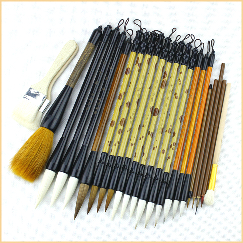 24pcs/set Luxury High Quality Calligraphy Brush Pen Set Chinese Landscape Painting Brushes S/M/L Regular Script Writing Brushes