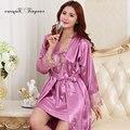 Хорошее качество халат женщины шелковые 2 шт. пижамы полный рукав выдалбливают вышивка кружева v шеи шелковистая сна халаты 3 цвета