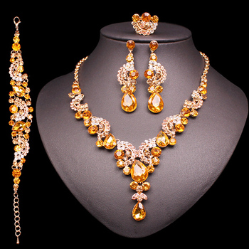 Fashion Crystal Jewelry Sets Jewelry Jewelry Sets Women Jewelry Metal Color: 4 pcs suit yellow