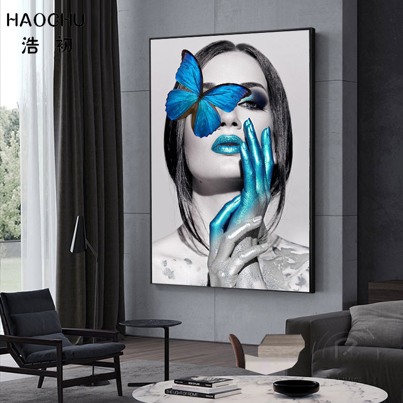 d4edfd130b3 Detail Feedback Questions about HAOCHU Black   White Nordic Poster Blue  Butterfly Sexy Woman Art Print Poster Bedroom Canvas Painting Corridor  Porch Home ...