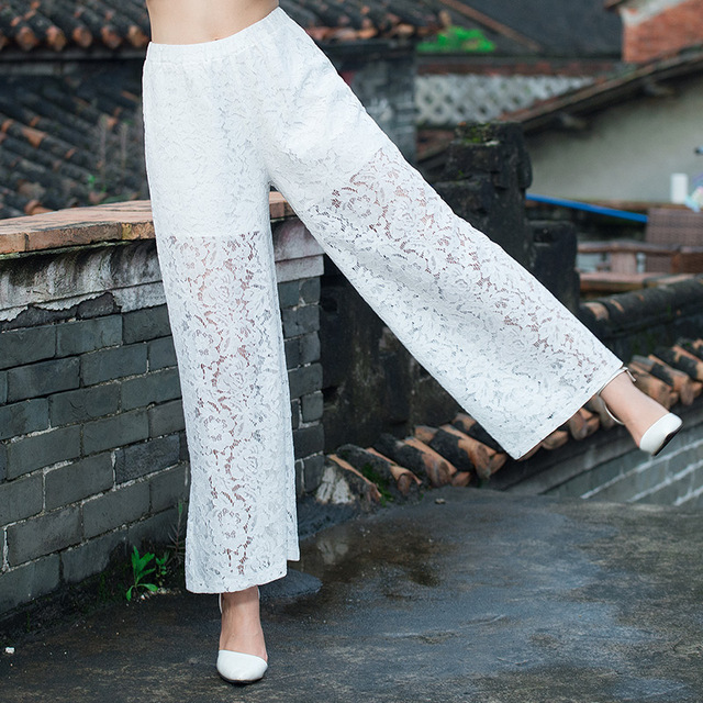 189b6851128 2018 spring summer pants new fashion casual women high waist wide leg pants  crochet lace pants