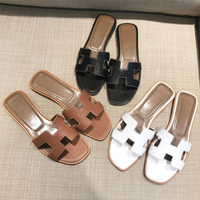 Summer black or white H ladies sandals ladies luxury designer sandals real cowhide flat shoes sneakers woman fashiona