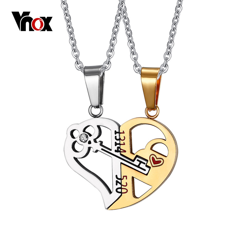 Vnox Key & Lock Heart Shape Necklace for Women Men Pendant Couple Necklaces Lover Friendship Jewelry 2pcs/ sets Anniversary Gift