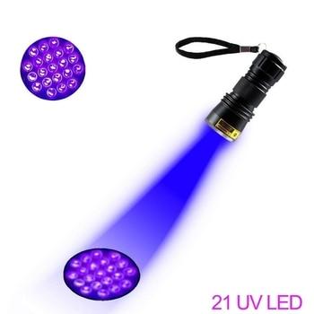 UV Flashlight 21LED 12LED UV Light 395-400nm LED UV Flashlights linterna torch Ultraviolet Black Light lamp 3