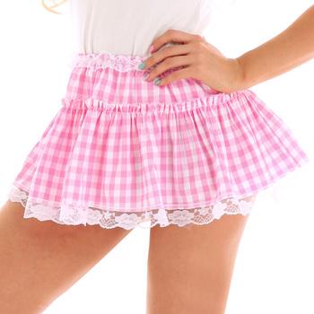 Męskie Sissy koronkowa mikro krótka spódniczka dorosłych elastyczny pas krótka spódniczka z koronkowe brzegi plisowana bawełniany materiał w kratkę Mini spódniczka Sexy Men tanie i dobre opinie iEFiEL spandex mankiety