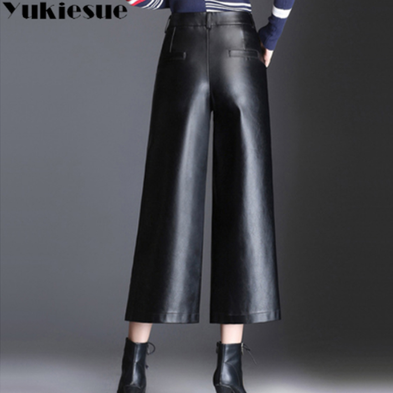 Plus size 4XL high waist PU leather pants capri women 2018 winter autumn loose elastic waist wide leg pants female trousers