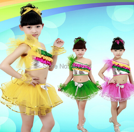 bbaf6bf72 5pcs/Lot Popular design Latest kids latin costumes girls christmas modern  dance costumes wholesale price EMS free shipping