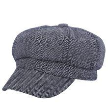 Chica mujeres casual sombrero octogonal sombreros newsboy cap mujer 54-58  cm fina tela escocesa patrón geométrico femenino boina. b54551be053