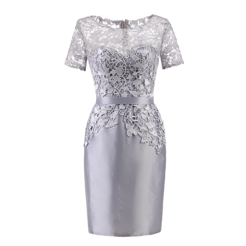 W.JOLI Short Evening Dress 2019 Elegant Grey Lace Satin Appliques Prom Gown O-NECK Bride Banquet Wedding Party Dresses