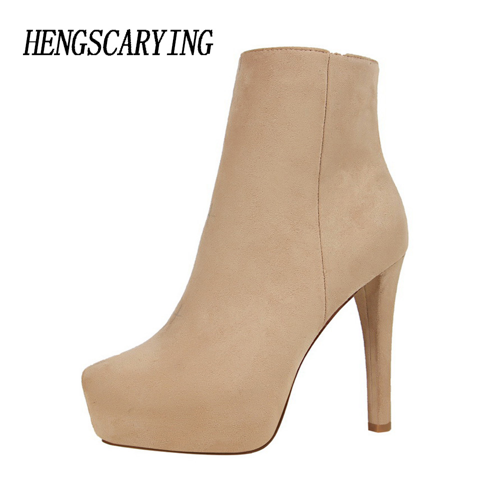 HENGSCARYING Brand Luxury Designer Women 12cm Fetish High Heel Ankle Boots On The Platform Nude Heels Female Felt Boots Shoes