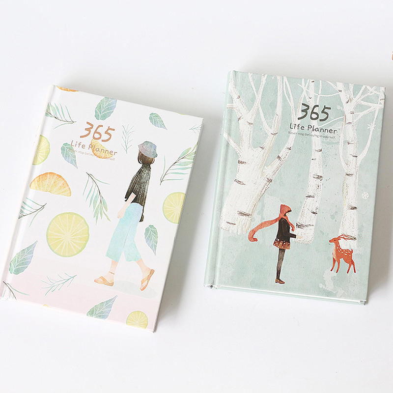 1pcs/lot Cute Korean Stationery 365 Days Personal Diary Planner Hard Cover Notebook School Office Weekly Schedule organizers lenwa star notebook creative stationery south korean thickened hard surface notebook 1pcs