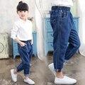 2017 весна и осень горячие детская мода хлопок джинсы 2-7 лет девушка чистый цвет двойной бар дикие детские trouse