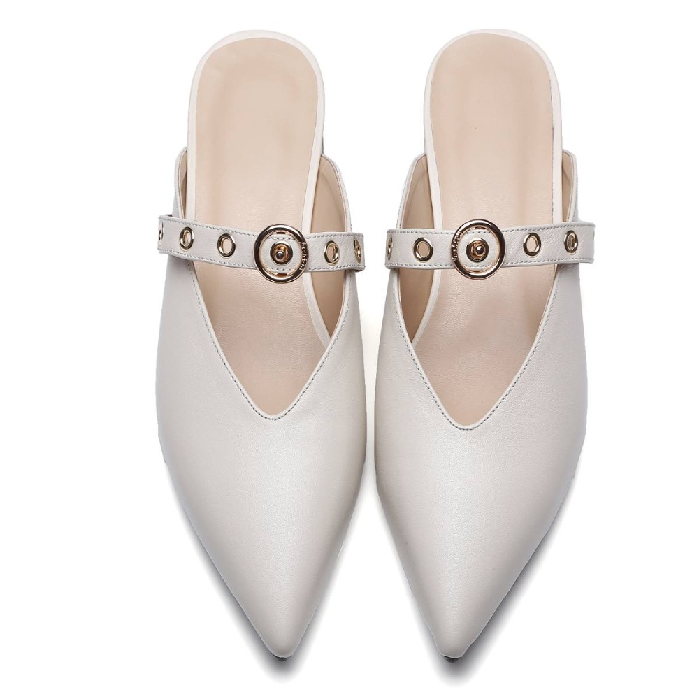 ФОТО Krazing Pot pointed toe women full grain leather solid metal rivets Fasteners slippers slip on low heels simple style mules 09