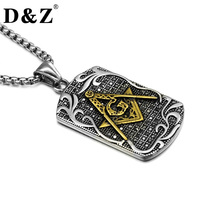 D Z Vintage Men Gold Silver Color Masonic Necklace Casting 316L Stainless Steel Freemason Mason Necklaces