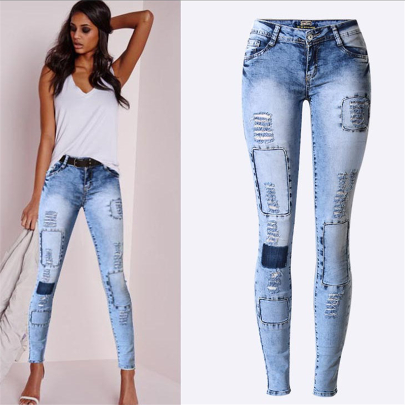 Ultra Stretchy Blue hole Patchwork Jeans Woman Denim Pants Trousers For Women Pencil Skinny Jeans low waist
