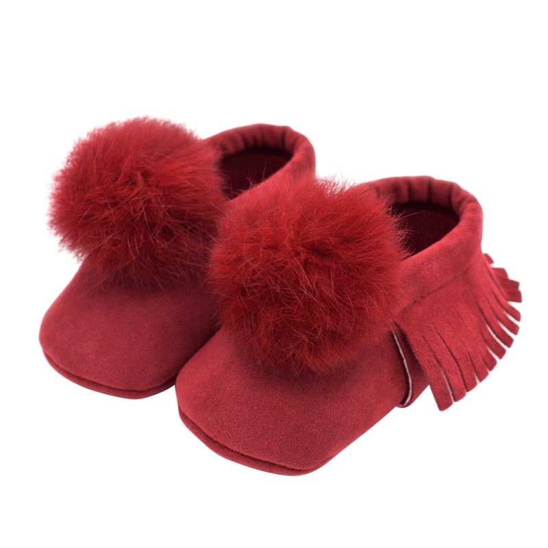 0 12 Month Baby Tassel Ball PU Shoes Soft Sole Toddler Girls Shoes Cute Baby Moccasins Shoes in First Walkers from Mother Kids