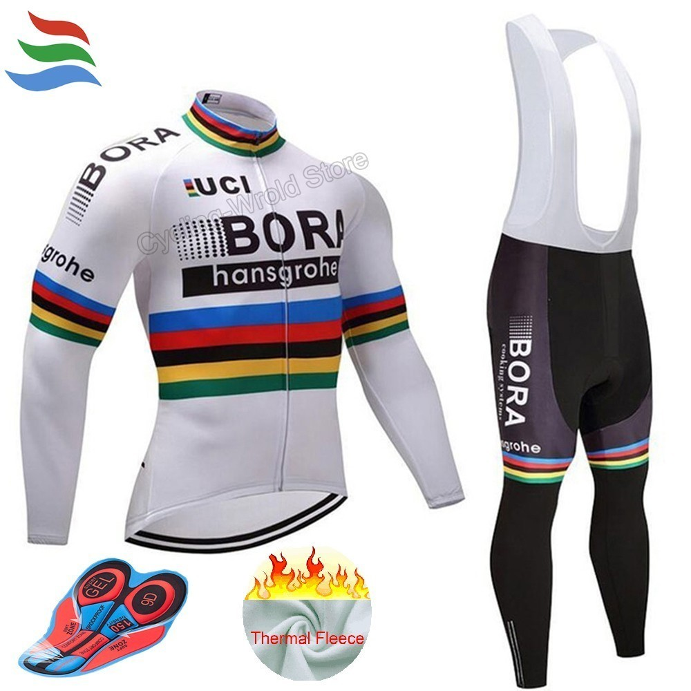 2018 New Jersey Cycling Pro Thermal fleece 9D GEL Pad Bora Hansgrohe ...