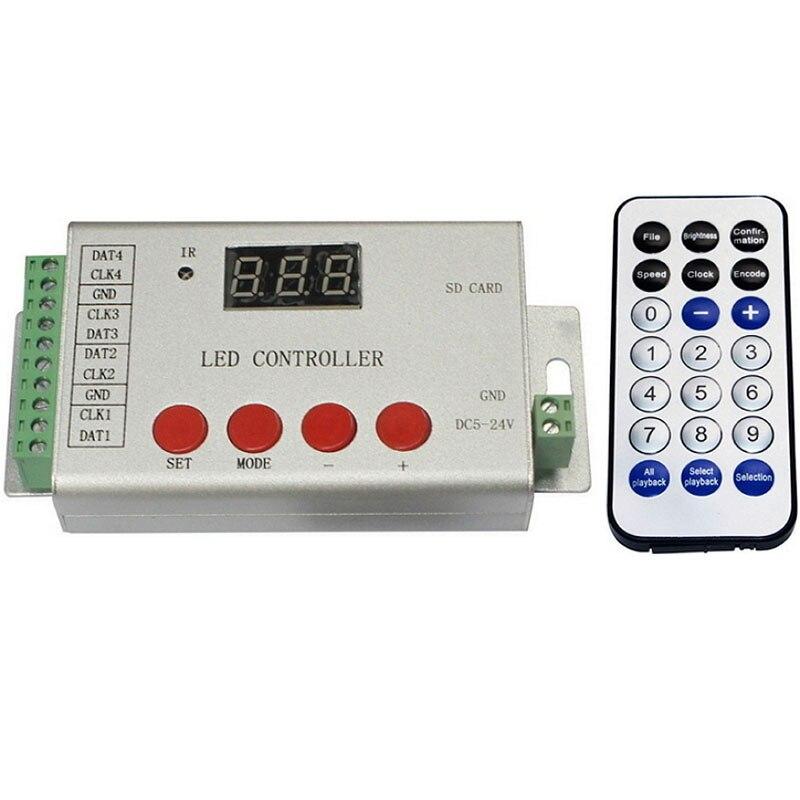 Contrôleur de led en couleur, 4 ports lecteur 6144 pixels, définir l'adresse puces DMX512, soutien DMX512, WS2811, WS2812, APA102.etc
