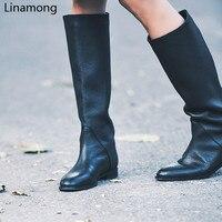 Women Black Knee High Round Toe Boots Ladies Winter Flat Heel Retro Design Vintage Shoes Female Long Boots Street Style