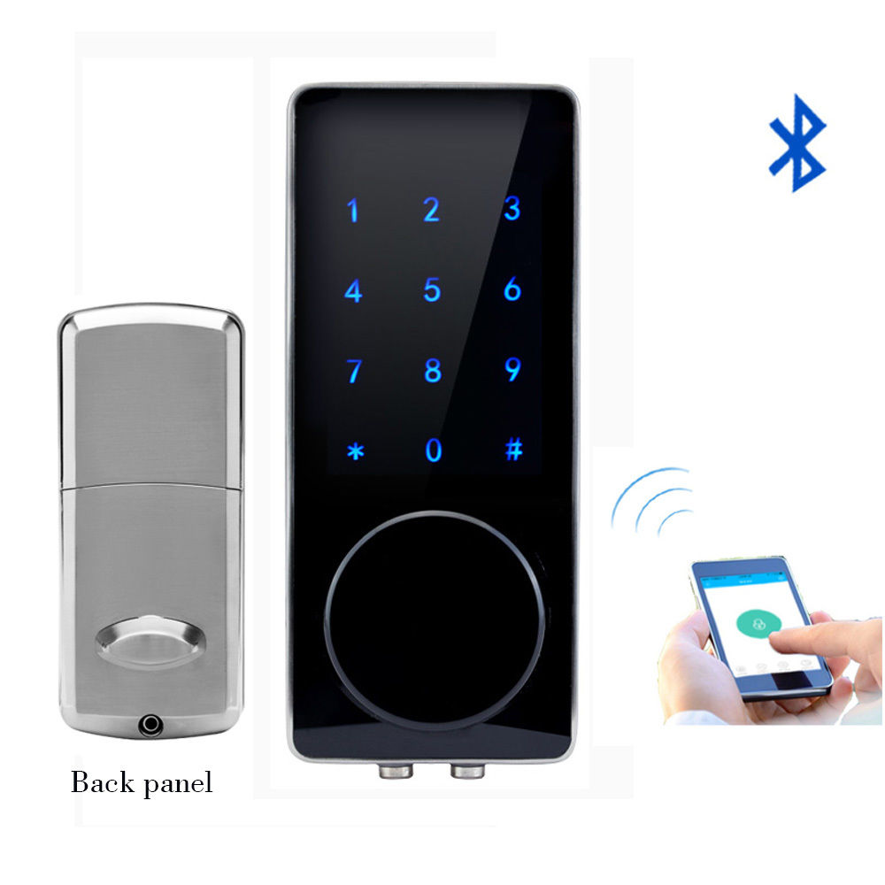 ABKM Hot Silver Zinc Alloy Home Smart Bluetooth Electronic Press Screen Code Password Lock Deadbolt Door Lock Unlock By App Co