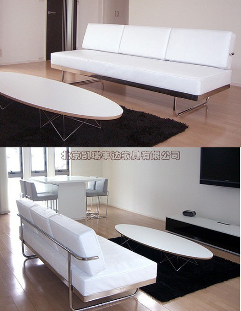 US $4416.0 |Leather sofa three simple modern Italian leather sofa grade  stainless steel Front-in Hotel Sofas from Furniture on Aliexpress.com | ...