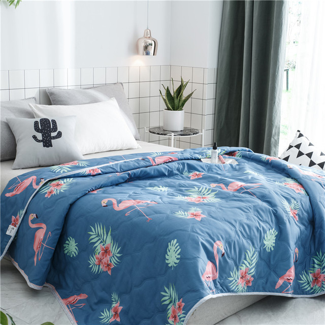 2018 New Bedding Flamingo Summer Quilt Blankets Cartoon Comforter Bed Cover  Quilting Home Textiles Suitable For