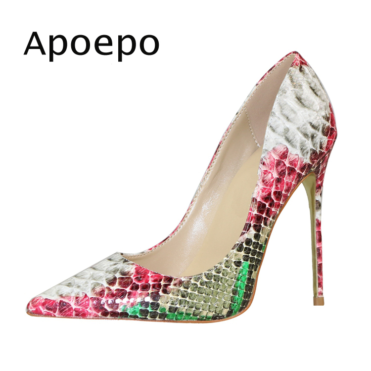 New Newest Snakeskin Leather High Heel Shoes Sexy Pointed toe Thin heels shoe for woman 2018 Stiletto heels wedding shoes newest patent leather high heel shoes sexy pointed toe woman pumps 2017 leopard printed stiletto heels thin heels dress shoes
