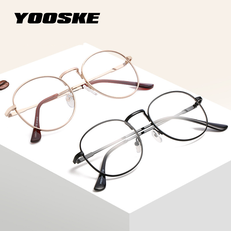 YOOSKE Transparent Optical Round Glasses Frame Women Men Retro Spectacles Frames Clear Lens Eyewear Black Silver Gold Eyeglasses