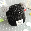 New Fashion winter Thick Baby Hats,two-ball cartoon Knitted Baby Boy/Girl Hats,Photo Props Infant Cap Suit for 1-4T