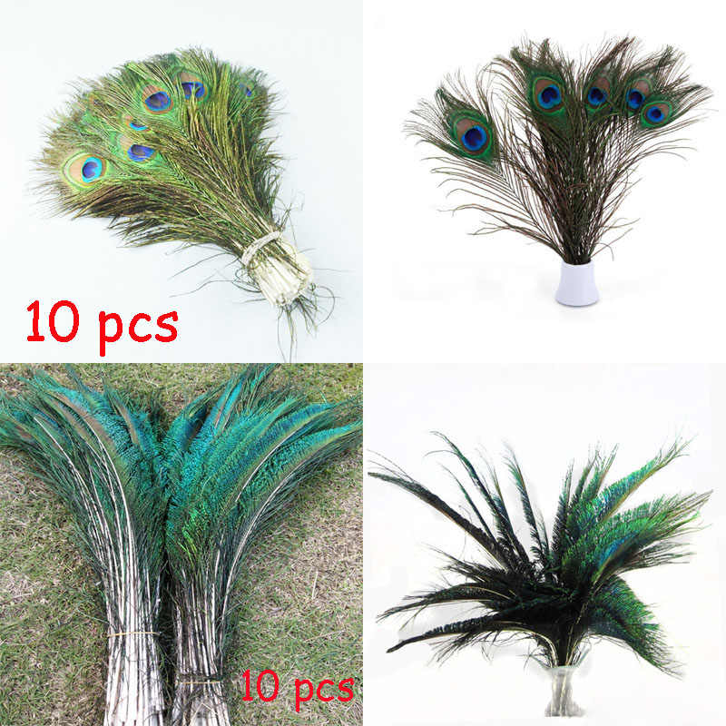 10pcs 30-35cm Peacock Sword Symmetrical Feathers VS 10 pcs 25-30cm Peacock Feathers Eyes For Vase Mask Carfts Decoration Plumes
