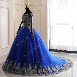 Image 3 - New Arrivals spring summer romantic luxury Vintage Lace appliques blue wedding dress Off White long  80 cm train