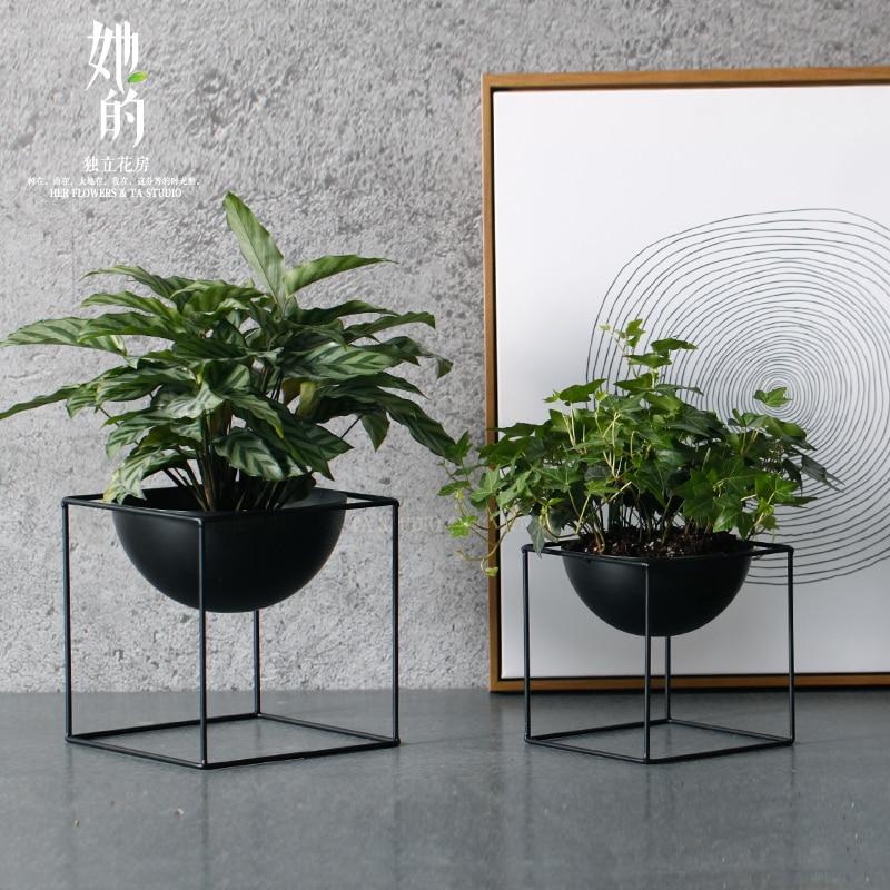 Black Tabletop Waterproof Cube Metal Flower Plant Pot Pergola Garden Planting Indoor Flower Home Office Christmas