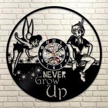 Peter Pan&Wendy Tinkerbell Neverland Vinyl LP Record Wall Clock Cartoon CD LED Hanging Clock Vintage Kid Room Decor 3D Art