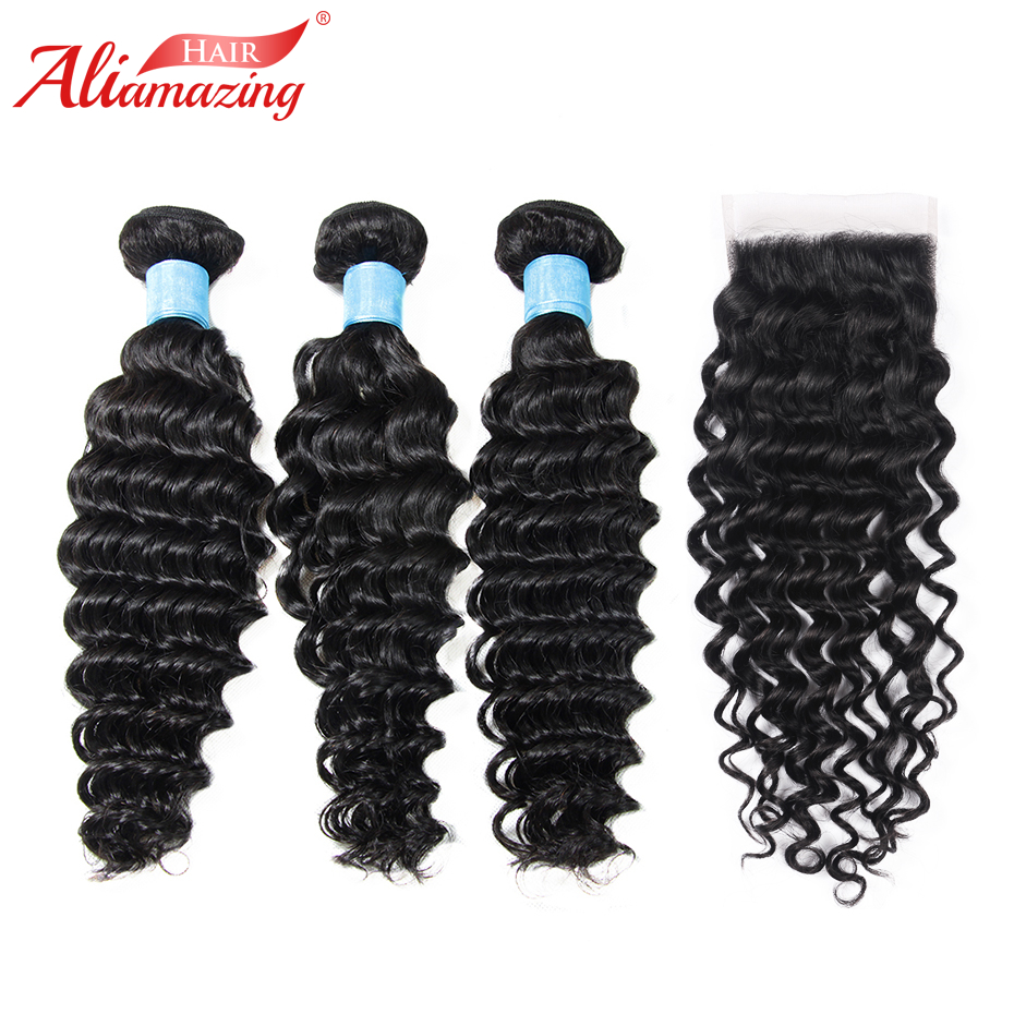 Ali Amazing Hair Deep Wave Bundles with Closure Brazilian Remy Human Hair 3 Bundles with 5x5 lace Closure 4pcs/lot Free Shipping