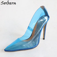 Sorbern Mature Blue Clear Pvc Ladies Pump High Heels Women Party Shoes Designer Heels Blue Shoes Size 11 Runway Shoes For Women