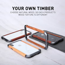 luxury metal Bumper Wooden Case  Hard For iPhone X XS Max Cover Capinhas Capa shockproof Coque Fundas