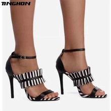 TINGHON Summer Thin heels high-heeled workplace Sexy toe Sandals Stripe Elegant Lady Pointed Toe Pumps Sandals spring and summer thin heels high heeled pointed toe button female sandals small yards 31 32 33 plus size 40 41 42 43