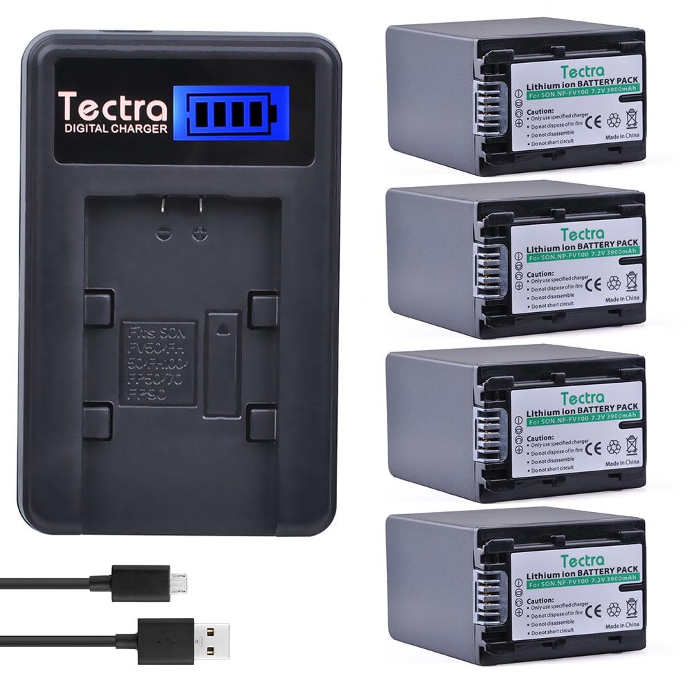 Tectra 4pcs NP-FV100 NP FV100 Camera Li-ion Bateria + LCD USB Charger for Sony NP-FH30 NP-FH40 NP-FH50 NP-FH60 NP-FH70 NP-FH90 lts25 np