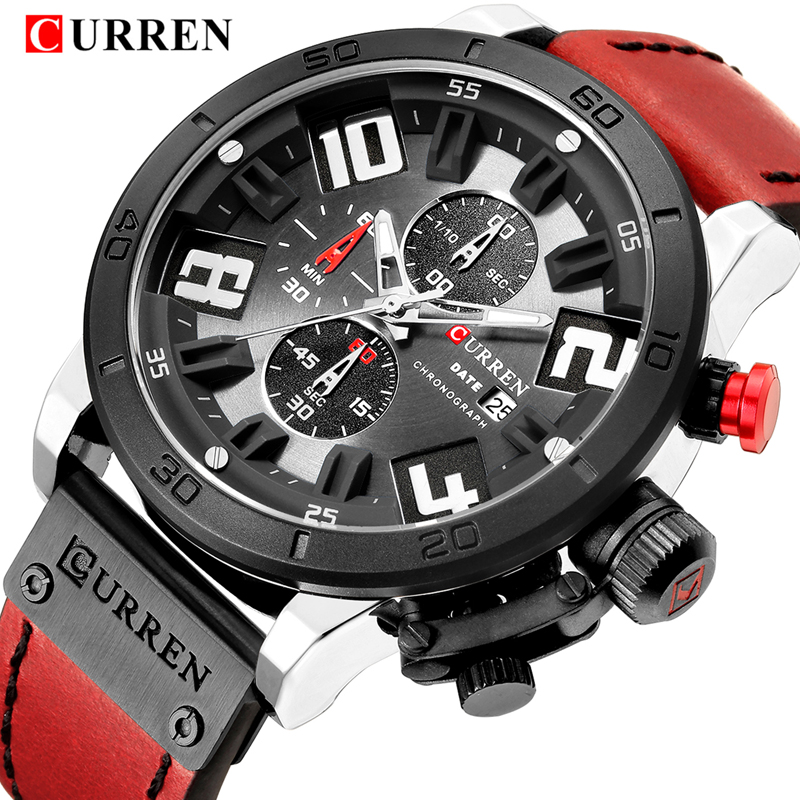 CURREN Men's Watches Top Brand Luxury Watch Men Military Leather Sports Watches Waterproof Quartz Wristwatches Male Clock senors men s quartz watches sports watches waterproof luxury leather strap military watch couple wristwatches clock for men