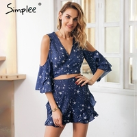 Simplee Sexy Ruffle Star Print Two Piece Romper Women Cold Shoulder Wrap Top Playsuit Summer V