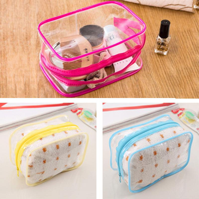 Portable Transparent Cosmetic Bags PVC Zipper Solid Waterproof Makeup Bag Toiletries Travel Storage Ladies Swimming Bags #2
