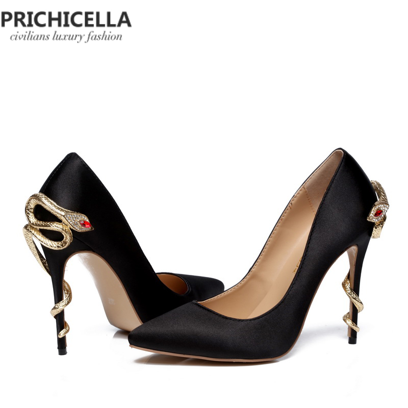 PRICHICELLA/атласные золотые туфли под платье на каблуке под змеиную кожу; уникальные туфли лодочки на высоком каблуке с острым носком из натуральной кожи - 5