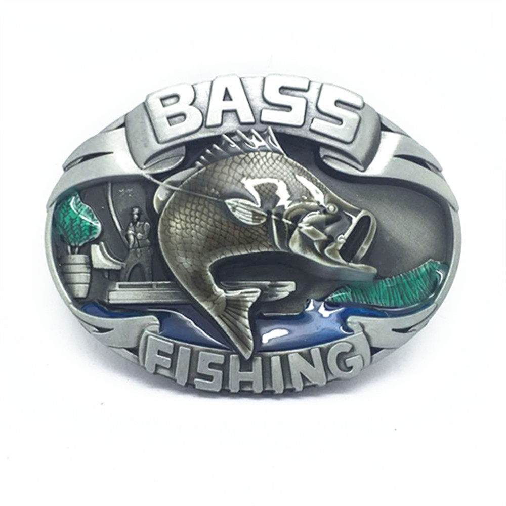 BASS Fish West Jeans Belt Wild Outdoor Fish Leather Belt Buckle Suitable For 3.8CM Belt