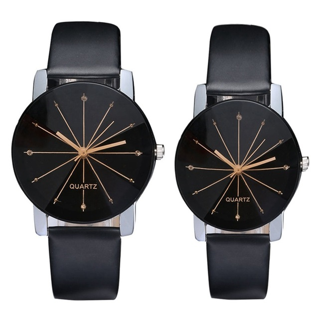 2017 Fashion Simple Lovers Couple Watch Men Women Quartz Clock PU Leather Dial Clock Ladies Female Watch relojes hombre
