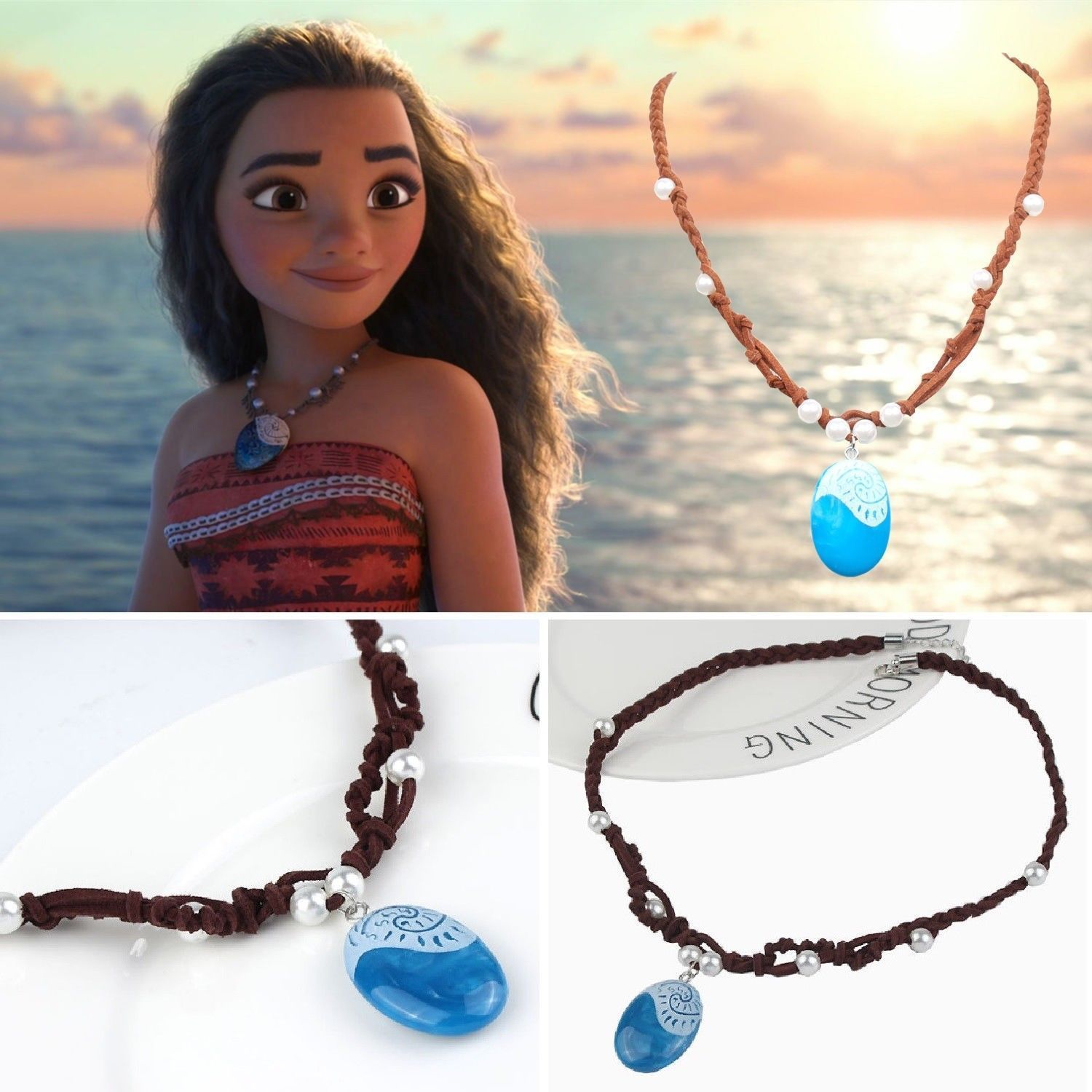 Moana Necklace Costume Cosplay Props Princess Heart of Te Fiti Girl Kid Necklace