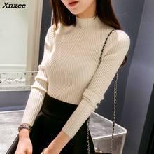 Ins Nuevo 2018 Otoño Invierno mujeres suéter de alta stretch Turtleneck  suéter mujeres slim rayas lace Pullover Xnxee 55b7fd806e4d