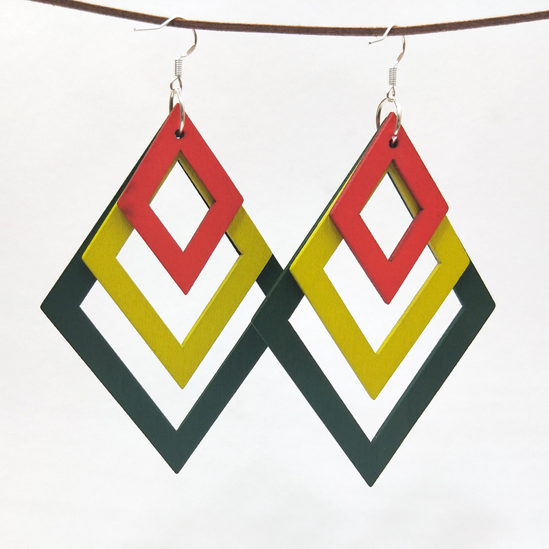 Jewelry & Accessories Qiaohe 1 Pair Good Quality Woman Wood Earrings Organic Lozenge Red Yellow Green Wooden Brincos Pendant 6.2x8.8cm/2.4x3.5 Earrings