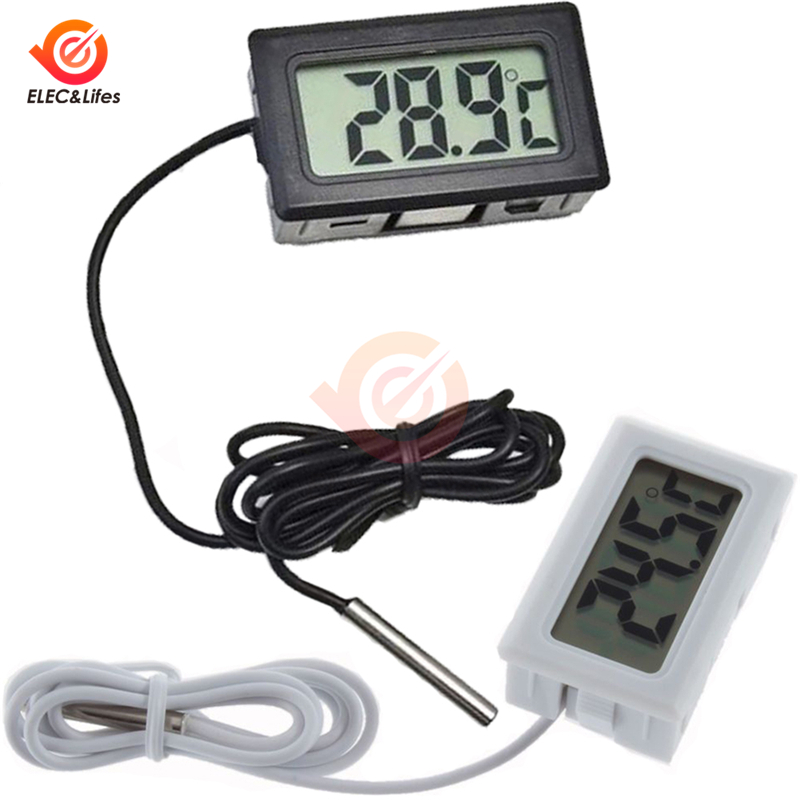LCD Digital Indoor Outdoor Thermometer Fridge Freezer Temperature Sensor Meter Refrigerator Aquarium Tank 1M 2M Waterproof Probe